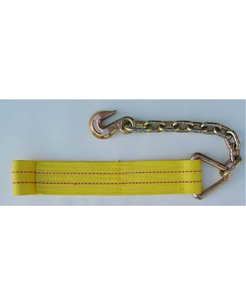 Winch Strap with Chain Anchor & Hook
